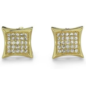 Mens Concave Kite Studs Gold Micro Pave Earrings